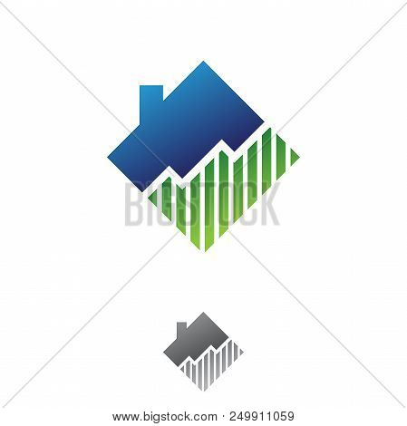 Simple Diagram Chart Shaped Home Illustration For Real Estate Company. Real Estate Company Concept D