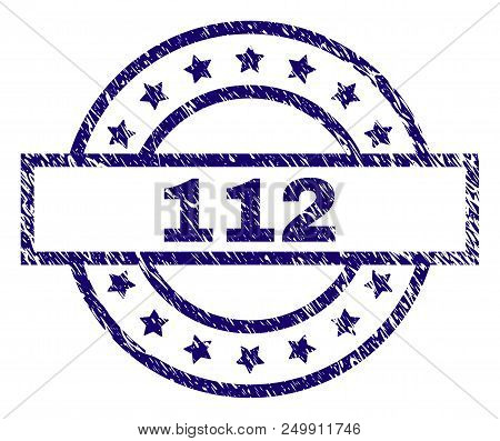 112 Stamp Seal Watermark With Distress Texture. Designed With Rectangle, Circles And Stars. Blue Vec