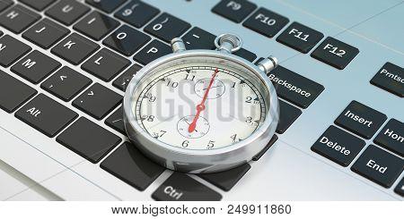 Online Order. Stopwatch, Timer, On Computer, Laptop Keyboard. 3d Illustration