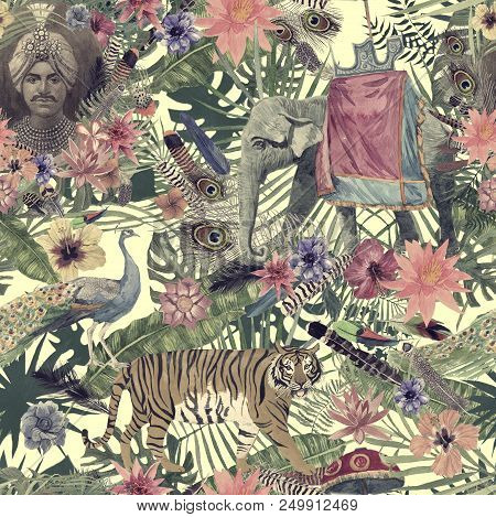 Seamless Watercolor Hand Drawn Pattern With Maharajah, Elephant, Peacock, Tiger, Feathers Flowers