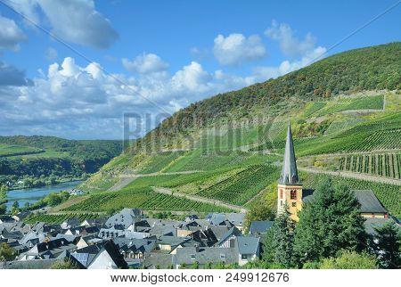 Wine Village Of Senheim Near Cochem In Mosel Valley,rhineland-palatinate,germany