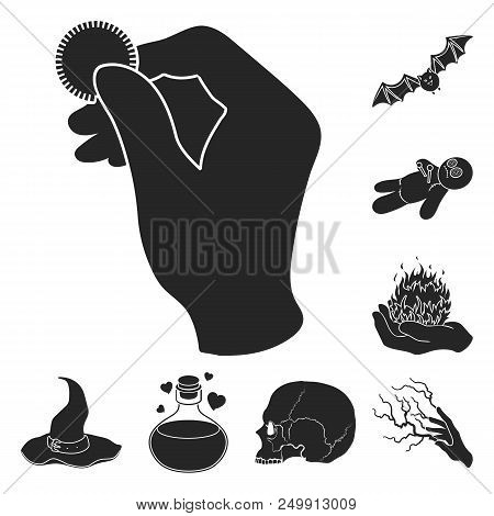 Black And White Magic Black Icons In Set Collection For Design. Attributes And Sorceress Accessories