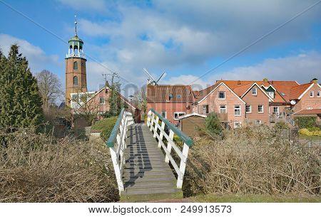 Idyllic Village Of Ditzum In East Frisia,lower Saxony,germany