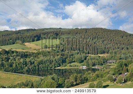 View To Lake Kronenburger See In Eifel,north Rhine Westphalia,germany
