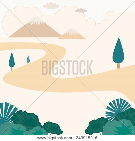 Autum Lanscape Or Autum Season, Or Autum View Of Green Leaf And Mountain With Tree  And Orange Cloud