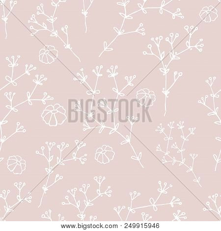 Herbs And Flowers. Botanical Drawings. Seamless Pattern