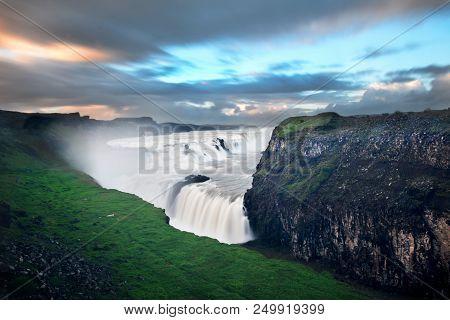 Tourist Destination Gullfoss Waterfall In Iceland At Dusk
