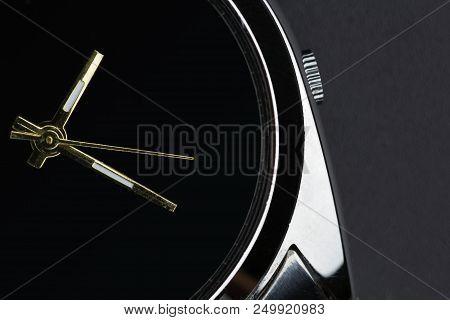 Close Up Luxury Watch On Black Background