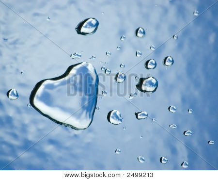 Water Heart And Drops