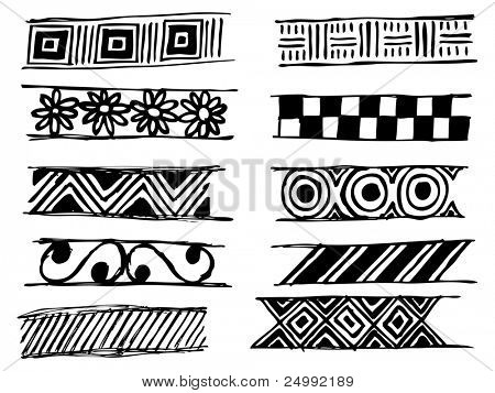 set of doodle vector patterns