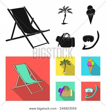 Beach, Palm Tree, Ice Cream.summer Vacation Set Collection Icons In Black, Flat Style Vector Symbol