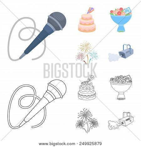Hand Making A Cake With Cream, A Microphone With A Cord, A Bouquet Of Roses With A Greeting Card, A