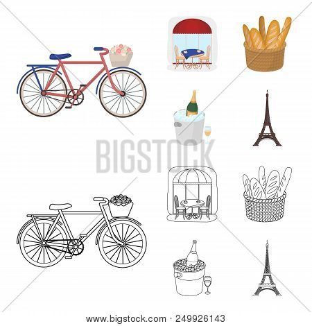 Bicycle, Transport, Vehicle, Cafe .france Country Set Collection Icons In Cartoon, Outline Style Vec
