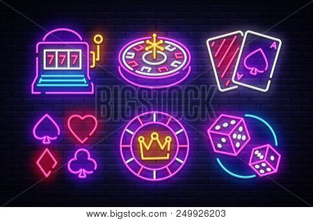 Casino Neon Collection Vector Icons. Casino Emblems And Labels, Bright Neon Sign, Slot Machine, Roul