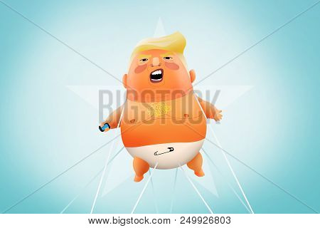 London, Uk, 18 July 2018 - Illustration Of Us President Baby-trump.