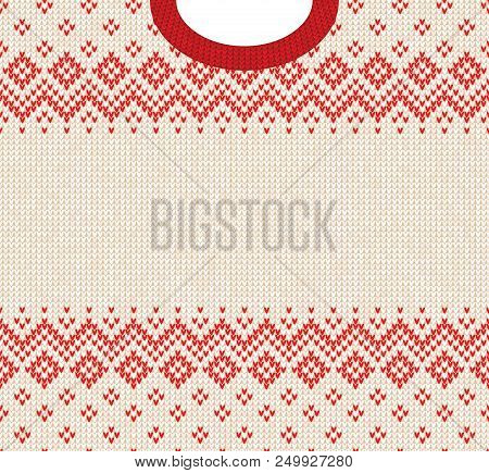 Ugly Sweater Merry Christmas And Happy New Year Greeting Card Frame Border Template. Vector Illustra