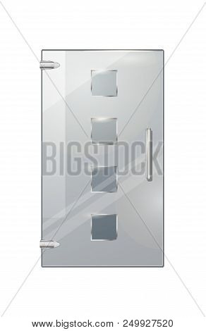 Clear Glass Door Isolated With Four Glassy Squares, Handle And Two Hinges On White Background. Vecto