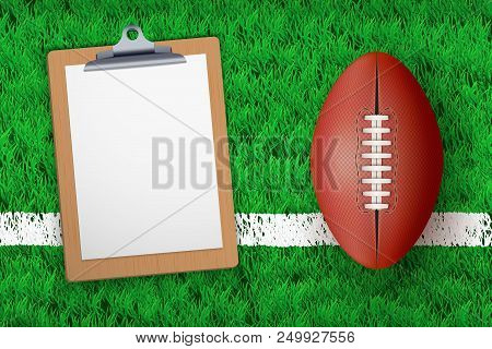 Stadium Grass Field With Coaching Blank Clipboard And Australian Football Or Rugby Ball. Editable Ve
