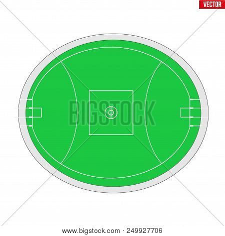Sample Of Australian Rules Football Field In A Simple Outline. Scheme Flat Design Of Footy And Aussi