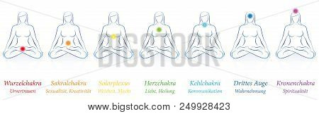 Chakras - Meditating Woman In Sitting Yoga Meditation With Seven Colored Main Chakras And Their Name