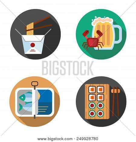 Food Flat Design Long Shadow Color Icons Set. Noodles, Beer Mug With Crab, Sprats, Sushi. Vector Sil