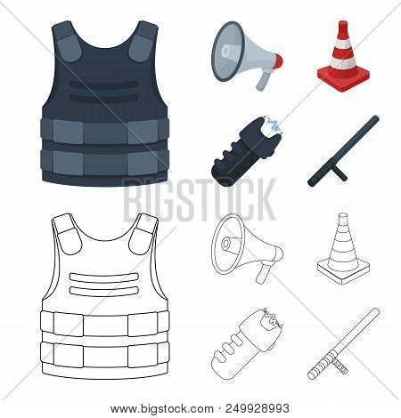 Bulletproof vest, megaphone, cone of fencing, electric shock. Police set collection icons in cartoon, outline style vector symbol stock illustration . poster
