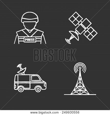 Mass media chalk icons set. Press. War correspondent, satellite signal, news van, radio tower. Isolated vector chalkboard illustrations poster