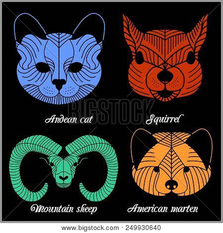 Set Of Polygonal Animals. Polygonal Logos. Geometric Set Of Mountain Sheep, Andean Cat, Squirrel, Am