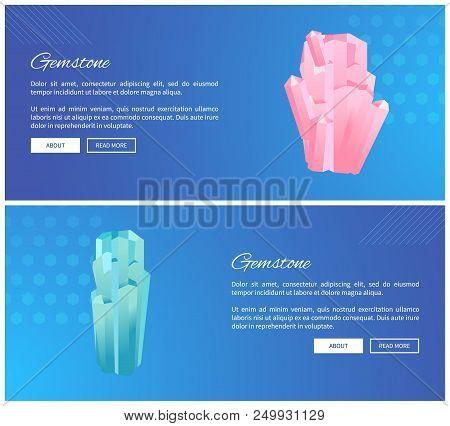 Gemstones web posters set minerals and crystals, pink quartz and rhinestone, semi-precious gemstones, precious gem stone online banners vector poster