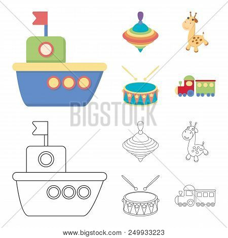 Ship, Yule, Giraffe, Drum.toys Set Collection Icons In Cartoon, Outline Style Vector Symbol Stock Il