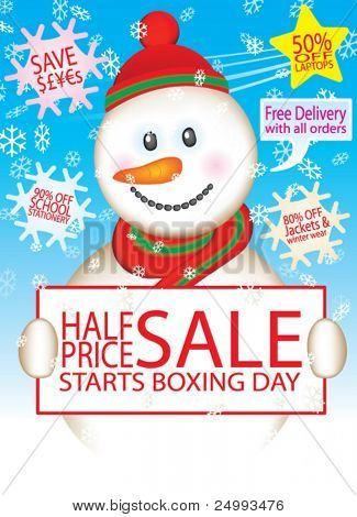 Vector Snowman Sale Design Set (Text is easy to change)