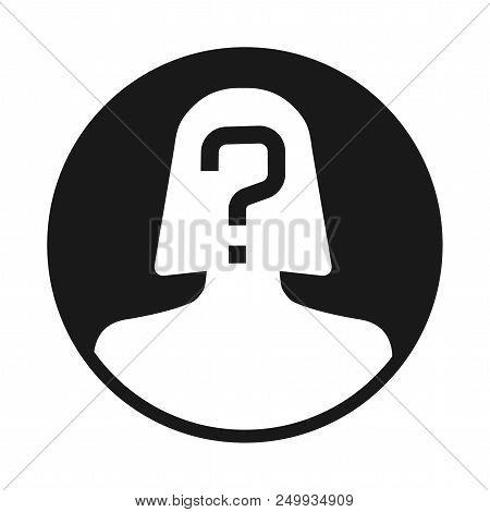 Incognito, Unknown Person, Silhouette Of Female On White Background