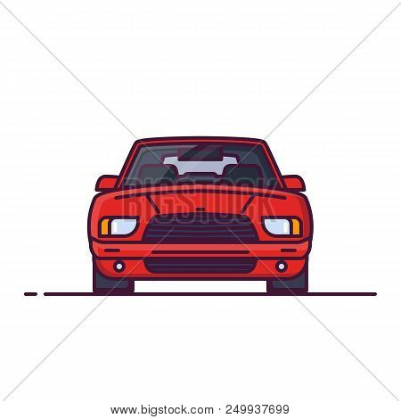 Front View Of Red Family Sedan Car. Line Style Vector Illustration. Vehicle And Transport Banner. Mo