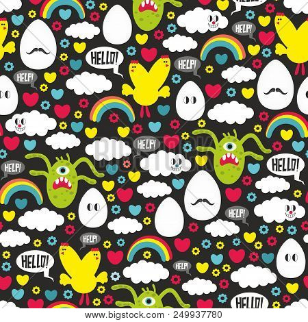 Seamless Pattern Wit Monsters And Chicken Mutantes. Vector Endless Illustration.