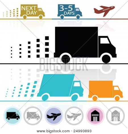 Vector Lorry/Van and Delivery Icons (each on separate layers)