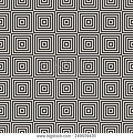 Vector Geometric Squares Seamless Pattern. Abstract Black And White Graphic Ornament With Thin Lines