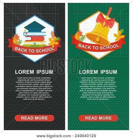 Back To School Banner Template. School Bell And Square Academic Cap On Background Of School Board. E