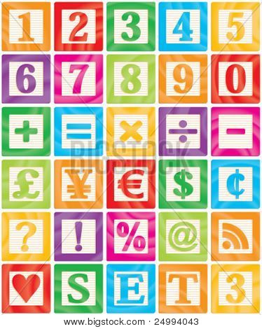 Vector Baby Blocks Set 3 of 3 - Numbers, Maths, Currencies & Symbols