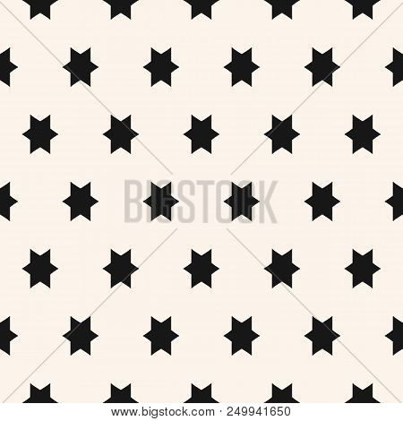Simple Geometric Seamless Pattern With Star Figures. Vector Abstract Black And White Ornamental Text