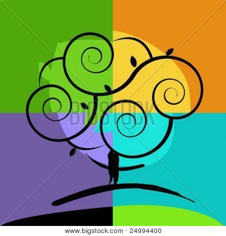 tree artistic vector icon