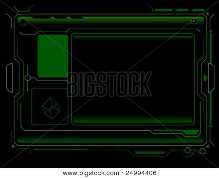 wire frame technology panel in black background.