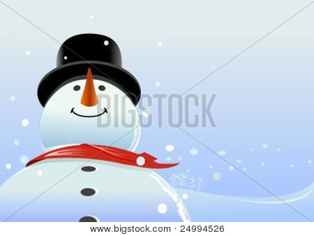vector snowman in snowy background. enough copy space to write your message