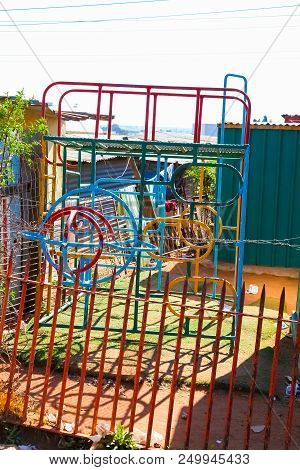 Johannesburg, South Africa, September 11, 2011, Colorful Jungle Gym Climbing Frame In Soweto Creche