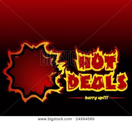 Hot deals promotional vector banner. You can use the banner for a single deal also, the letter S is not grouped with the rest letters, so can be easily removed.