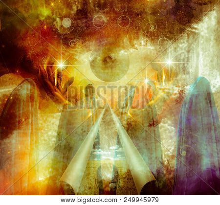 Mystical Abstract Painting, vivid colors  with hands holding large eye, figures draped in cloth and a tear in the image with curling edges. 3D rendering