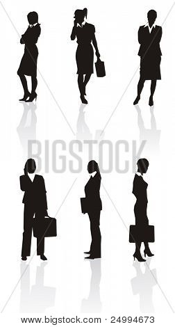 Businesswoman silhouettes