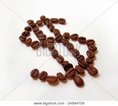 Dollar sign made from coffe beans