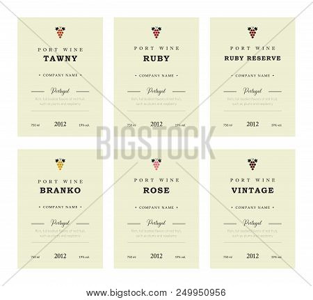Port Wine Labels. Vector Premium Template Set. Clean And Modern Design. Towny, Ruby, Reserve, Branco