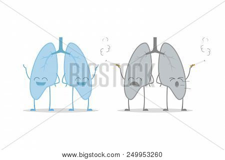Healthy And Sick Lungs Isolated On White Background Vector Illustration