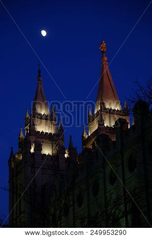 Salt Lake City Mormon LDS Latter-day Saing Temple at night with moon poster